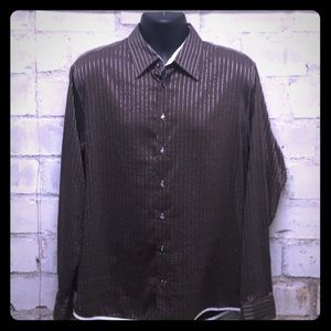 George Roth Brown and Silver Men's Dress Shirt